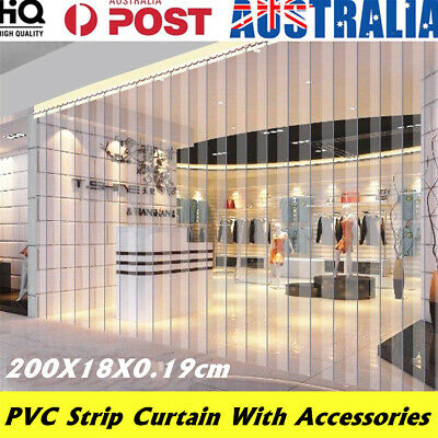 1/3/6Pcs Freezer Room PVC Coolroom Plastic Strip Curtain Door Kit Hanging Rail