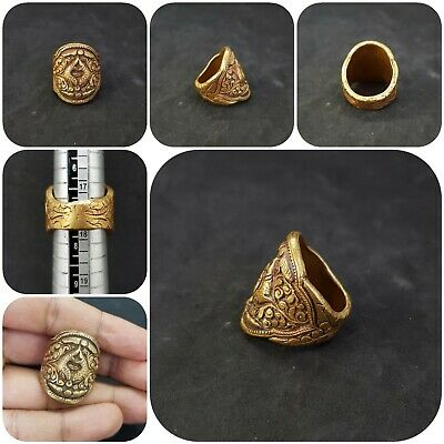 Tibetan Brass Gold Gilded Beautiful Ring With Double Fish Art #890Z