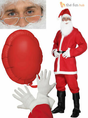 Mens 8 Piece Full Santa Claus Costume Father Christmas Xmas Fancy Dress Outfit