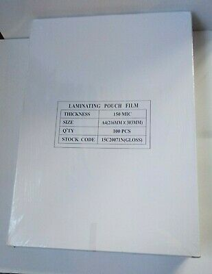 Pack of 2 A4 150 Micron Gloss Laminating Pouches Pack of 100 15C20071n