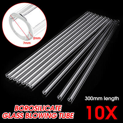 10Pcs 300mm Length OD 7mm 2mm Thick Wall Lab Borosilicate Glass Blowing Tube