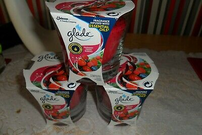 3x glade fragrance infused with essential oil candles -radiant fresh berries