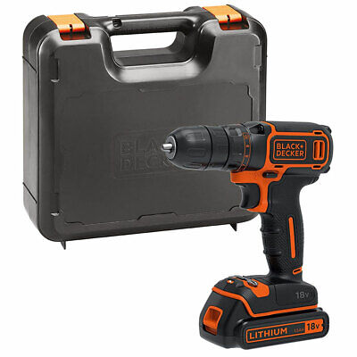 Black & Decker BDCDC18K 18V Drill Driver with 1 x 1.5Ah Battery & Charger in Box