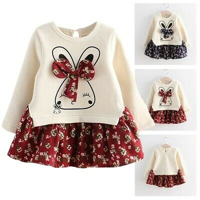 Toddler Child Kid Baby Girl Winter Cute Rabbit Bunny Floral Princess Party Dress