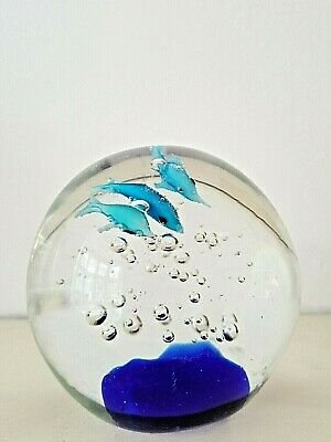 AF-D3PW Dolphins Glass Paperweight in Gift Box Christmas Present