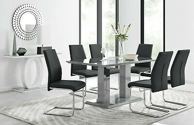 IMPERIA Grey High Gloss Dining Table Set And 6 Chrome Leather Dining Chairs