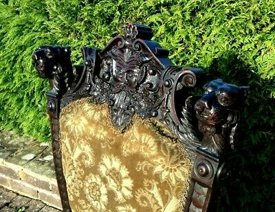 Victorian Carved Mahogany Green Man Hall Chair Carved Lions Circa 1890