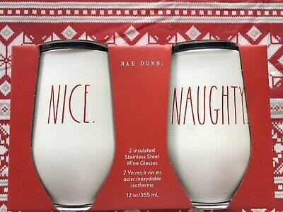 Rae Dunn NAUGHTY NICE Christmas Edition Stainless Steel Wine Glasses NEW