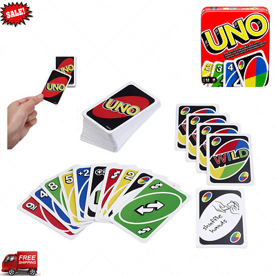 UNO classic Tin Box family card Game Mattel Playing cards fun Kids Toys Gift Xma