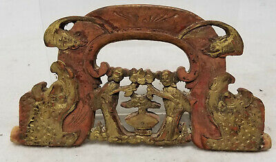 Antique Vintage Carved Wooden Chinese Gilt and Red Painted Decorated handle