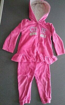 Girls Pink Soft Warm Jacket And Trousers Set Size 18-24 Months