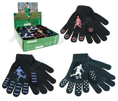 Boys Kids Thermal Magic Gripper Gloves With Football Designs Winter One Size New