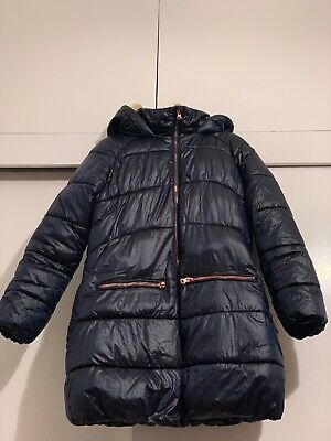 Girls long autumn winter jacket used navy rose gold zip from Next size 11 years