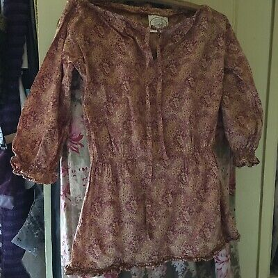 Rare early 70's Laura Ashley Prairie Dress Top Made In Wales Cotton 12 RARE VGC