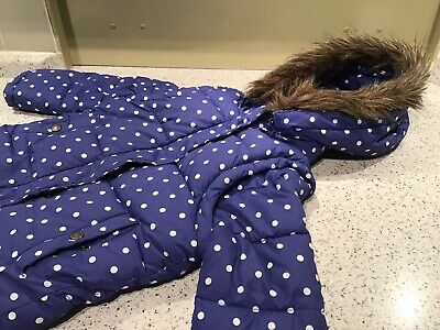 Mini Boden Girls Blue Spotty Jacket With Detachable Hood & Sleeves Age 4-5 Years