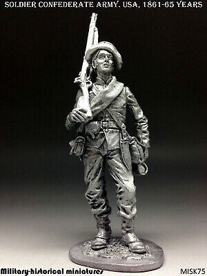 Soldier Confederate Army USA Tin toy soldier 54 mm figurine metal sculpture