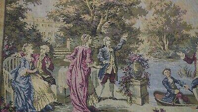 """Lovely Antique Tapestry Pictorial French Machine Made Wall-Hanging 1'7"""" x 4'8"""""""