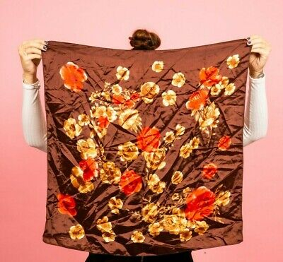 Vintage Italian brown red & cream rose print satin scarf
