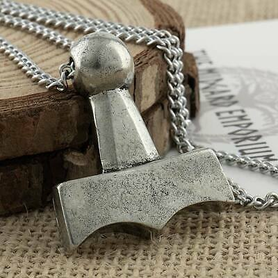 Viking Thors Hammer Mjolnir Pewter Pendant With Box Chain Necklace