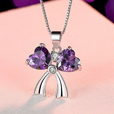 REAL SOLID SILVER 925 Classic Sterling Silver Necklace & Pendant  Bow-036