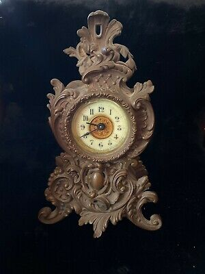 """Antique Ansonia 8 1/2"""" Parlor Clock, Porcelain Face, Works Great, Rococo/Baroque"""