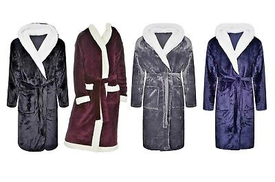 Men's Women Hooded Gowns Dressing Gown Bath Robe Flannel Fleece Robes Sherpa