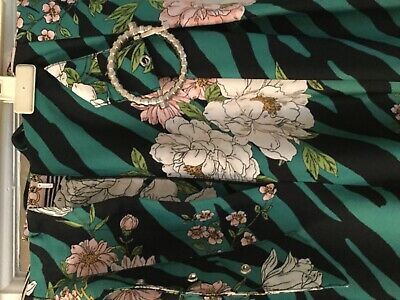 River Island Ladies Smart Floral Multicoloured Cropped Trousers Size 18.
