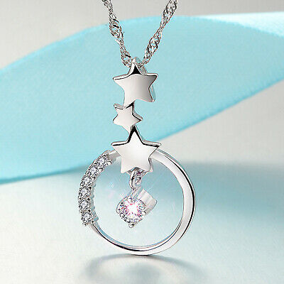REAL SOLID SILVER 925  Classic Sterling Silver Necklace & Pendant Star-026