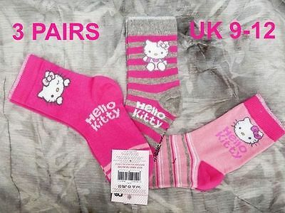 3 x PAIRS HELLO KITTY SOCKS MOTHERCARE UK SIZE 9-12 ~  AGE 4-7 PINKS BNWT RRP £7