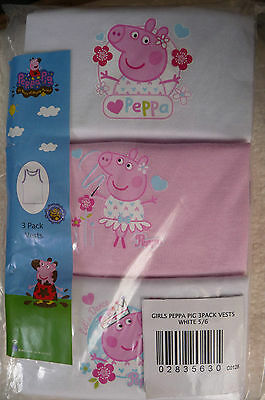 Bnwt Girls Pack Of 3 Peppa Pig Vests White & Pink Age 5/6 Years 100% Cotton Bnip