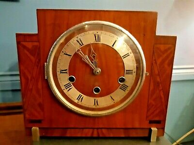 Art Deco Mantle Clock. Haller Movement. Clock Working , Chimes Need Attention.