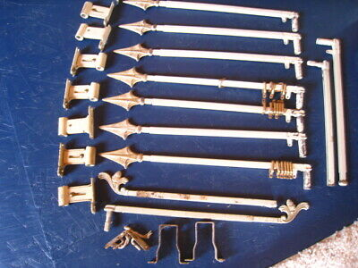 Vintage Metal French Finial Curtain Rods-HEAVY-Antique White Finish Set Of 7 +2