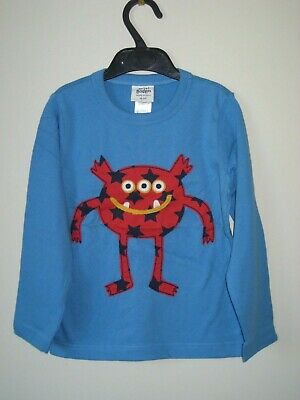 Mini Boden applique T Shirt Top 4-5 years blue monster