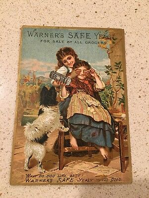 Old Trade Card Warner's Safe Yeast Quack Medicine Remedy For Sale By Grocers