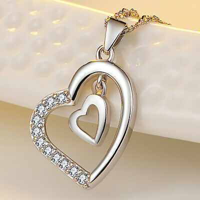 REAL SOLID SILVER 925  Classic Sterling Silver Necklace & Pendant Heart-057