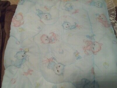 "Baby Blue Quilt Cats Lace Trim 34"" x 50"" New."