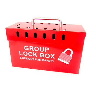 Zing 7299R-UN Red Steel Group Lockout Box - 13 Padlock Capacity