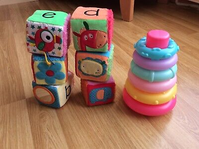 Mothercare Rocking Stackable Rings And Activity Blocks In Bag