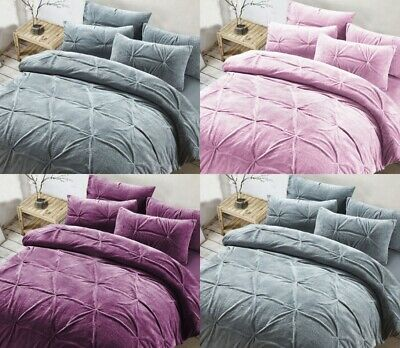 Teddy Fleece Madison Pintuck Pleat Duvet Covers Super Soft Cozy Bedding Sets NZ