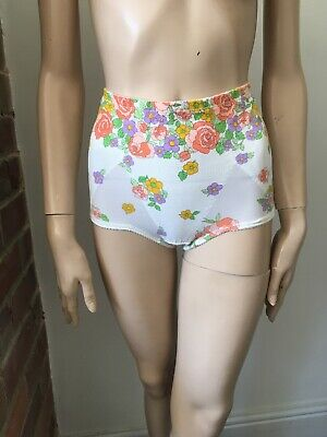 Vintage St Michael floral girdle 70s slimming control pant knickers burlesque vg