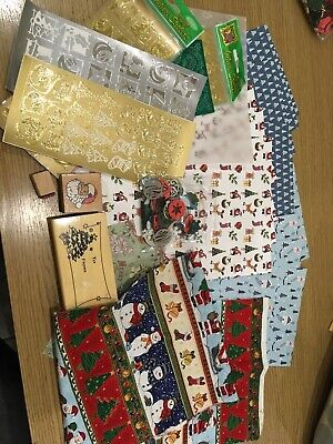 Christmas card making items - papers, stamps, embellishments - craft items