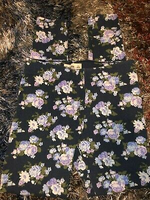 Girls Size Large Stretchy Blue Abercrombie Kids Fitch Floral Flower Leggings Ela