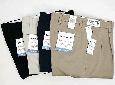 Dockers Mens Easy Care Classic Fit Pleated Stretch Comfort Waist Pants New