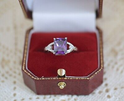 Vintage Jewellery Ring with Amethyst White Sapphires Antique Deco Jewelry P 8
