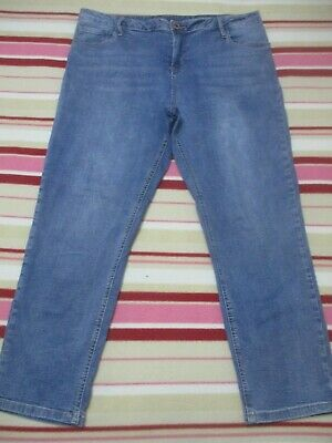 Ladies Size 18 Blue Denim Jeans, Ankle Length, Stretchy, Zip Up, Pockets