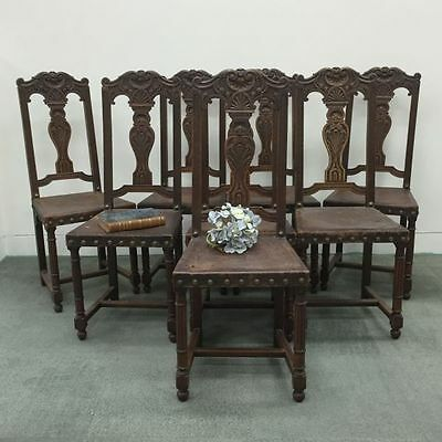 Antique Dining Chairs Set of 8 - French Oak Renaissance style - j053