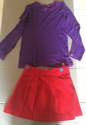 Gorgeous Mini Boden Red Cord Skirt Oilily Top Aged 9-10