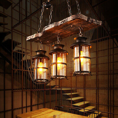 Country Steampunk Island Pendant Light Vintage Industrial Wooden Beem Chandelier