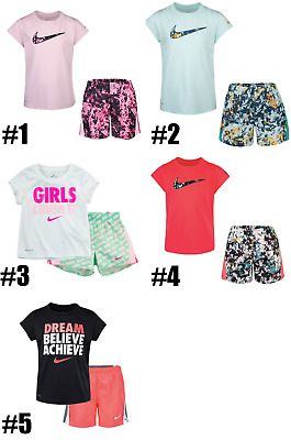New Nike Little Girls Dri-FIT Logo Graphic Shirt & Shorts Set MSRP $30 and $36