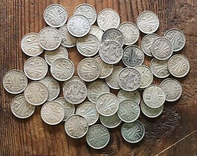 Australian Silver Threepence - Bulk Lot Of 50 Coins 1916-1961. 70g (1)